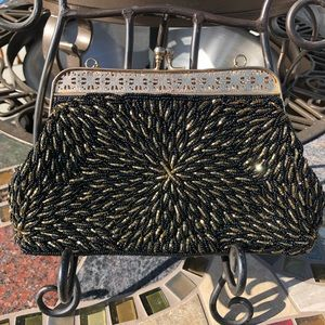 VTG Mid Century Black & Gold Hand-beaded Clutch